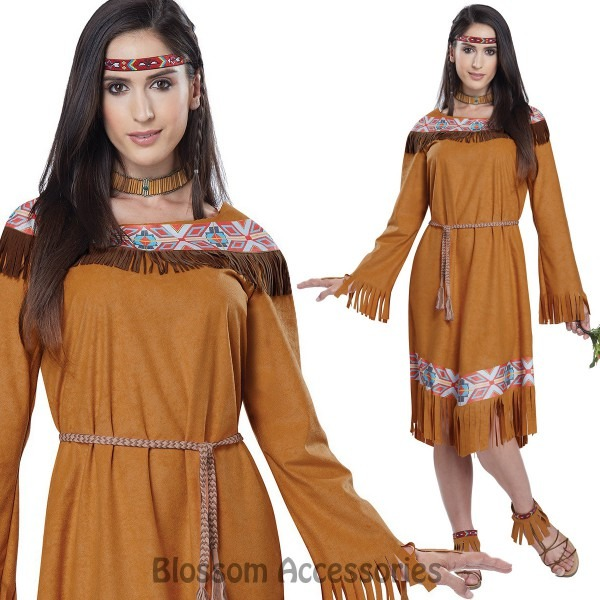Ca54 Classic Pocahontas Indian Maiden Dress Up Woman Wild West
