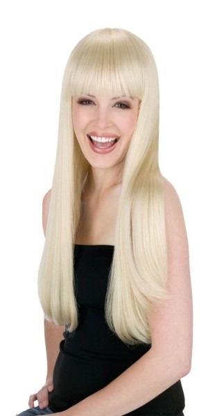 Womens Long Blonde Wig Straight Sexy Hair Bangs 60s Costume Gogo