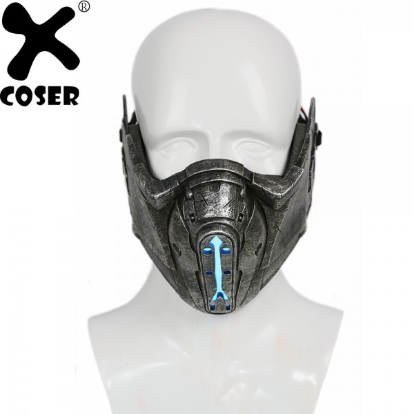 Xcoser Mortal Kombat Sub Zero Mask Game Cosplay Props Gray Resin