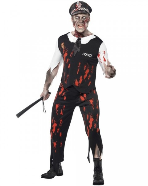 Cl555 Zombie Police Man Officer Cop Halloween Outfit Scary Undead