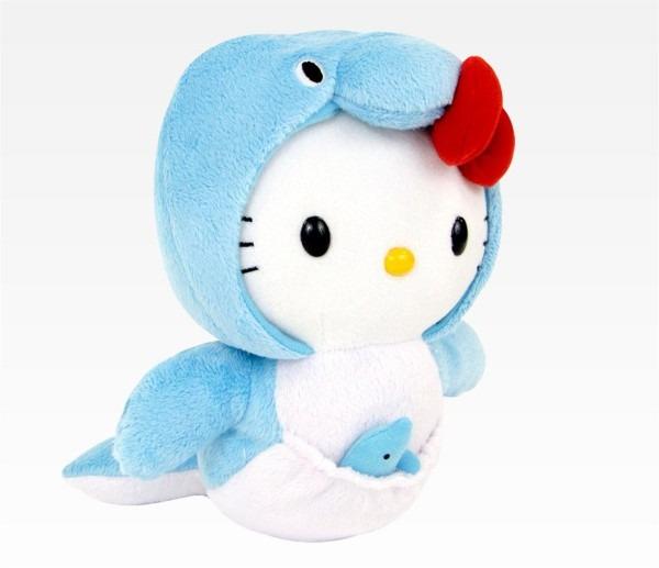 Katzwhiskas Hello Kitty In Dolphin Costume W Baby Plush Soft Toy