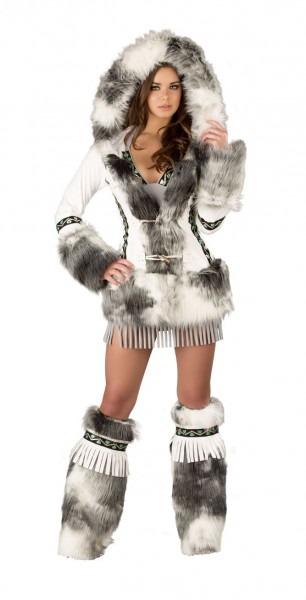 Deluxe Eskimo White Coat, Hooded White Eskimo Coat, Sexy Eskimo