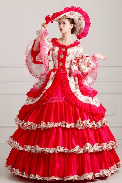 100 Real Ruffled Hot Pink Lace Rose Ball Gown With Hat Medieval