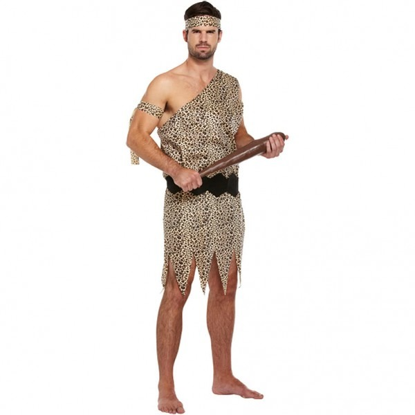 Caveman Adult Fancy Dress Costume, Halloween Stone Age Outfit