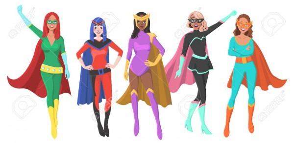Vector Set Of Five Different Female Superheroes With Masks And
