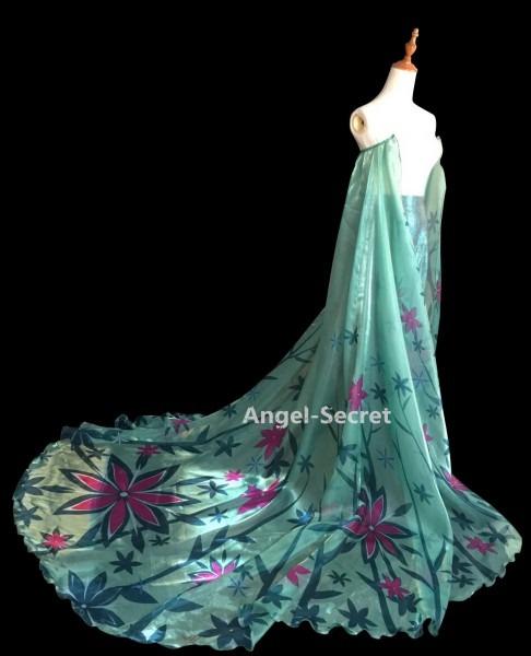 Cl18 Frozen Fever Queen Elsa Cosplay Costume Cloak Cape, Must