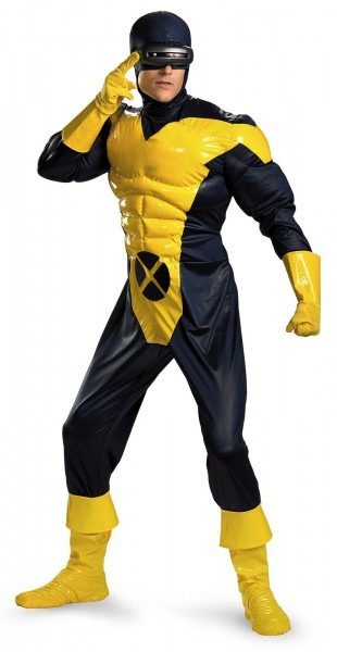 Men First Class Cyclops Adult Costume Includes Muscle Jumpsuit On