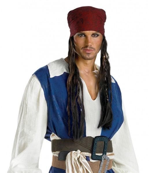 Captain Jack Sparrow Bandana With Beaded Braids Adult Pirates Of