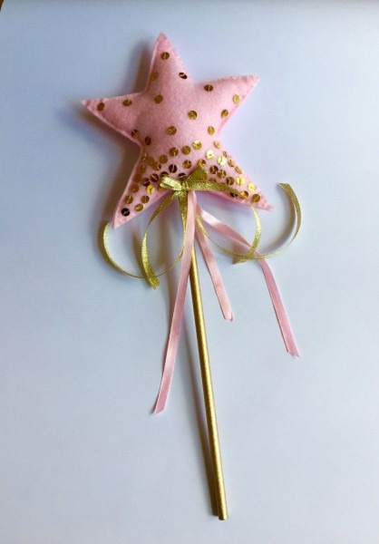 Pink And Gold Girls Handmade Felt Fairy Princess Star Wand With