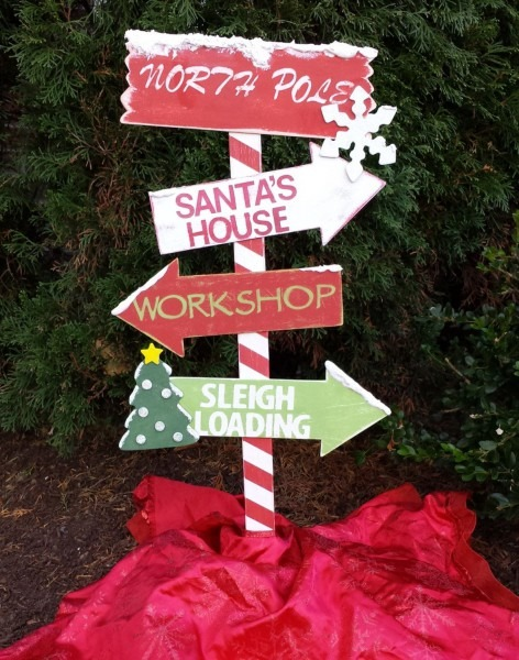 48 Inch Tall Wooden North Pole Yard Stake Christmas Decor By