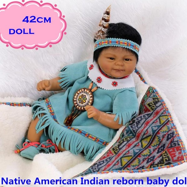42cm New Native American Indian Silicone Reborn Baby Dolls In