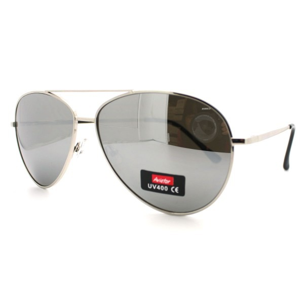 Classic Police Style Mirror Lens Aviator Sunglasses W  Silver