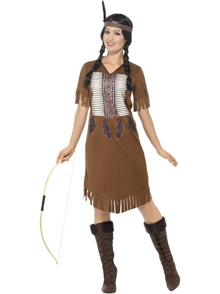 Native American Adults Fancy Dress Wild West Western Red Indian
