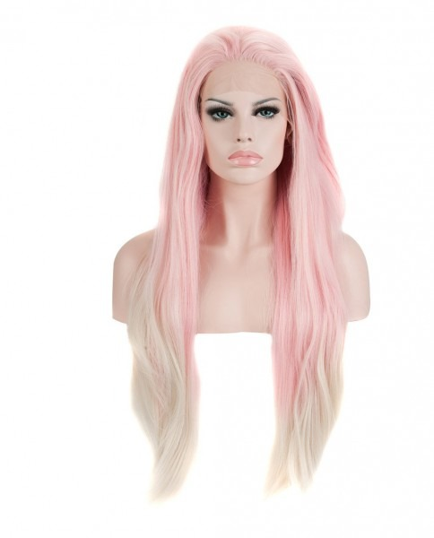 Baby Pink Blonde Ombre Synthetic Lace Front Wig