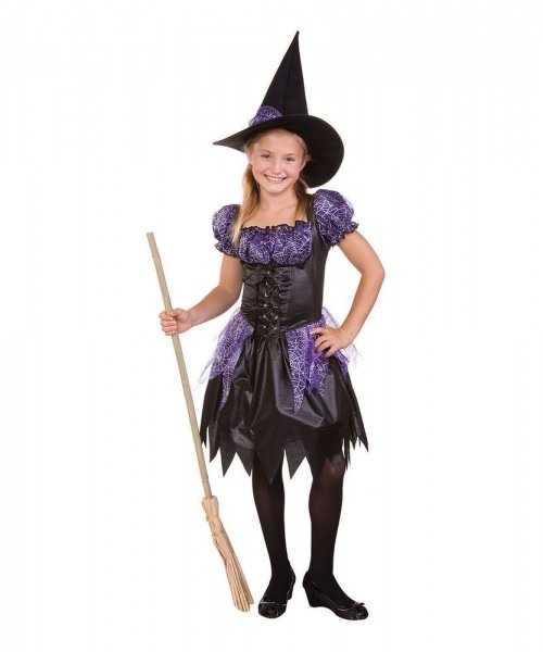 Witch Costume Black & Purple Sparkle Witch Dress