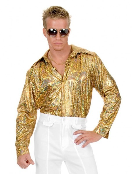 Amazon Com  Gold Glitter Hologram Disco Shirt Costume