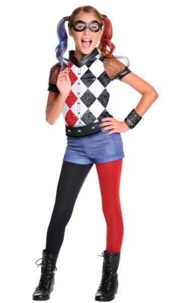 Girls Kids Childs Deluxe Harley Quinn Fancy Dress Costume Outfit