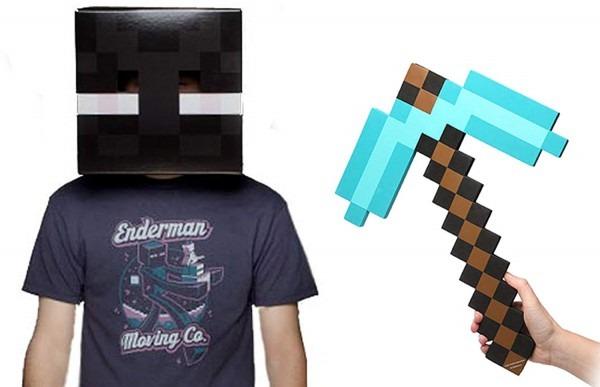 Amazon Com  Minecraft Enderman Head & Diamond Pickaxe Costume Set