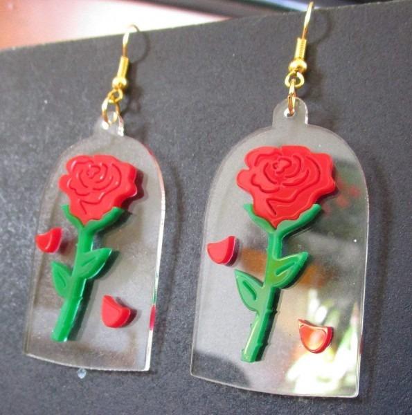Amazon Com  Beauty And The Beast Enchanted Rose Earrings, Beauty