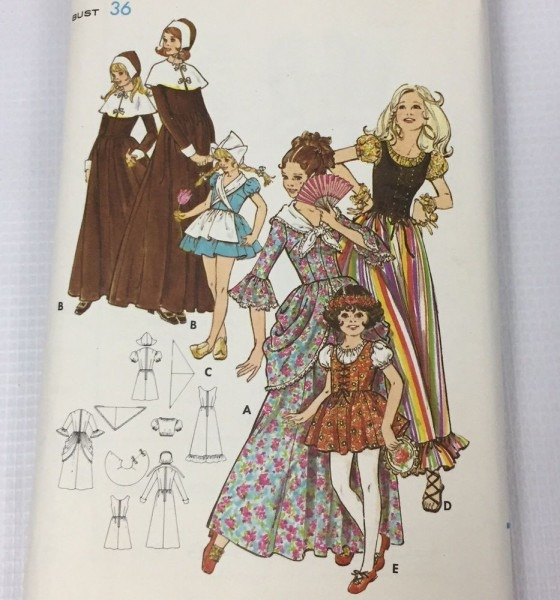 Vtg Costume Pattern Child Size 14 Nun Milkmaid 1800's Dress Scoop