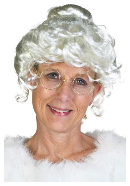 Amazon Com  Womens Deluxe Holiday White Synthetic Mrs  Claus Wig