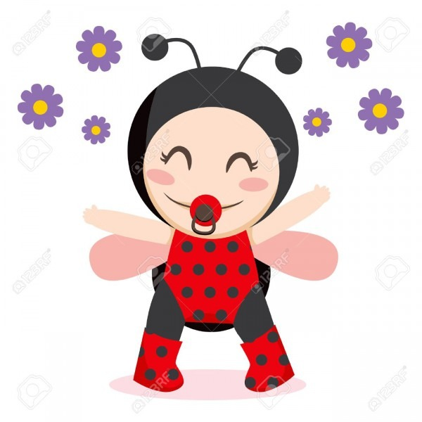 Cute Sweet Baby Girl Wearing Ladybug Costume Royalty Free Cliparts
