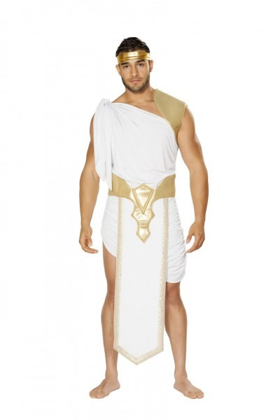 Sexy Roma White Gold Men's Greek God Halloween Party Costume Toga