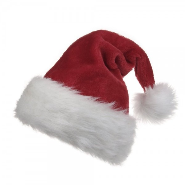 Adult Deluxe Plush Trim Conical Santa Hat For Xmas Traditional Red