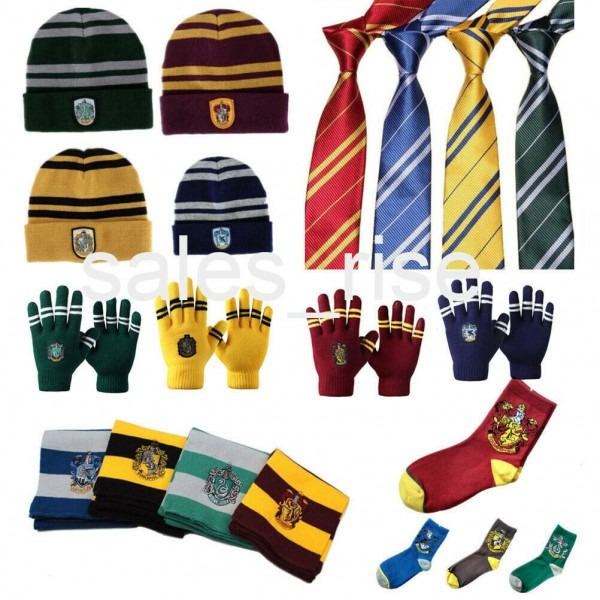Harry Potter Gryffindor Scarf + Hat + Gloves+badges+tie+socks+