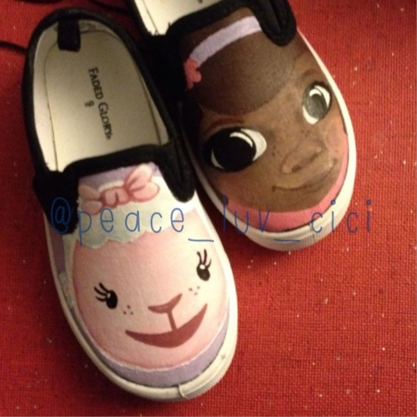 Doc Mcstuffins Custom Shoes    Handpainted, Wearable In All