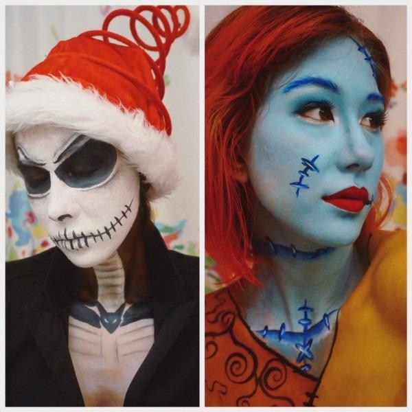 Nightmare Before Christmas, Jack And Sally Halloween Makeup