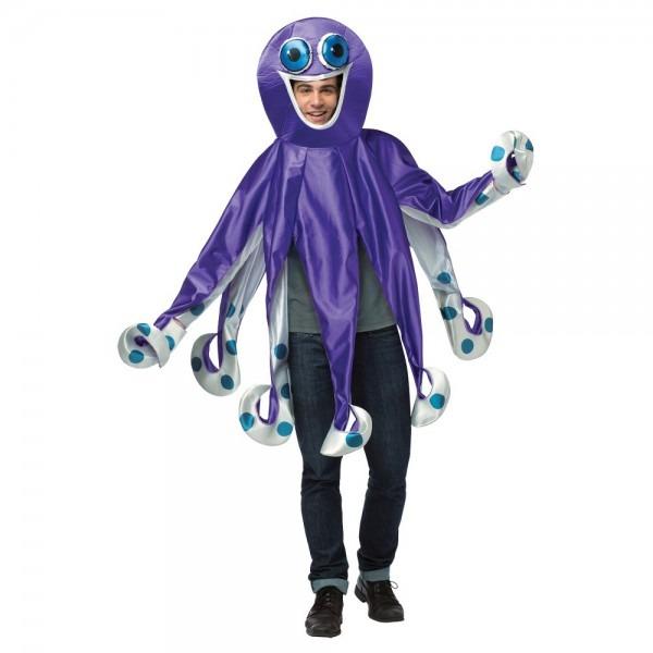Halloween Purple Octopus Adult Costume, Adult Unisex, Multi