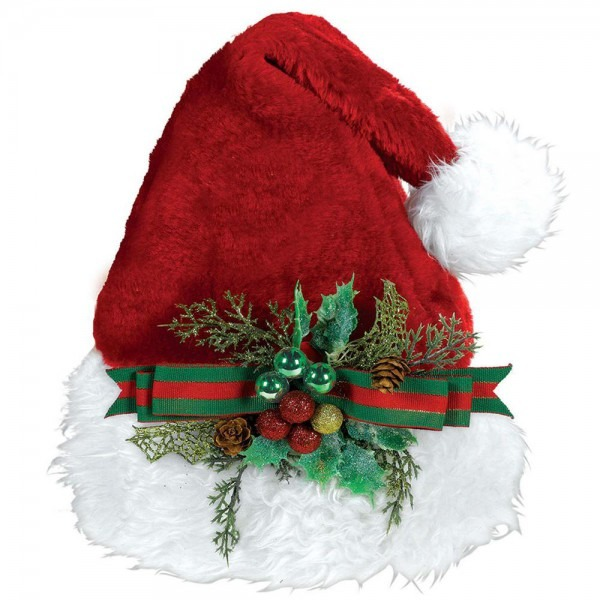 Amscan 15 In  X 11 In  Santa Christmas Deluxe Hat With Holly Bow