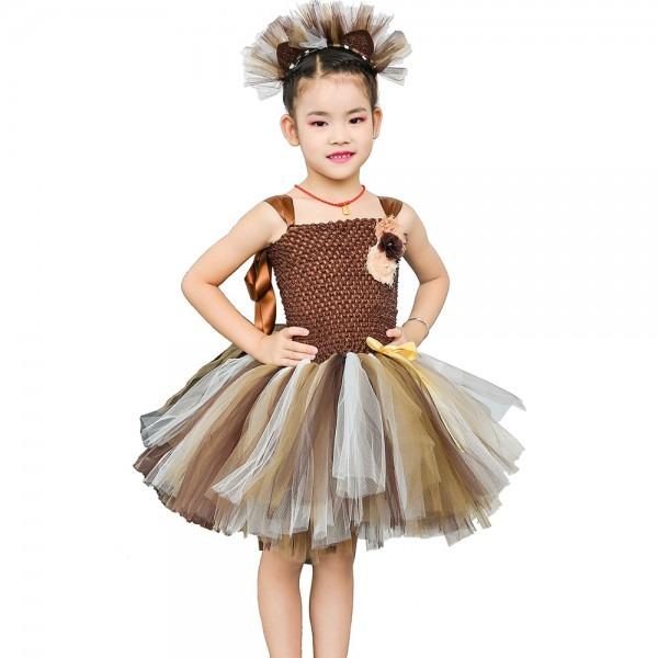 Brown Flower Girls Tutu Dress Children Cosplay Animal Lion Costume
