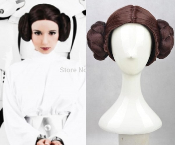 Brown Star Wars Princess Leia Nylon Cosplay Wig Party Wig Brown