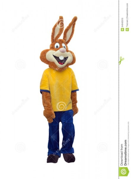 Bunny Mascot Costume Isolated On White Background Stock Image