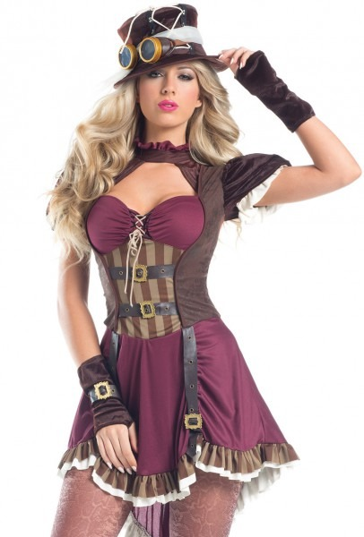 Sexy Womens Steampunk Mad Hatter Dress Costume