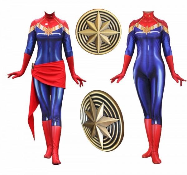 Captain Marvel Cosplay Costume Avengers Superhero Carol Danvers