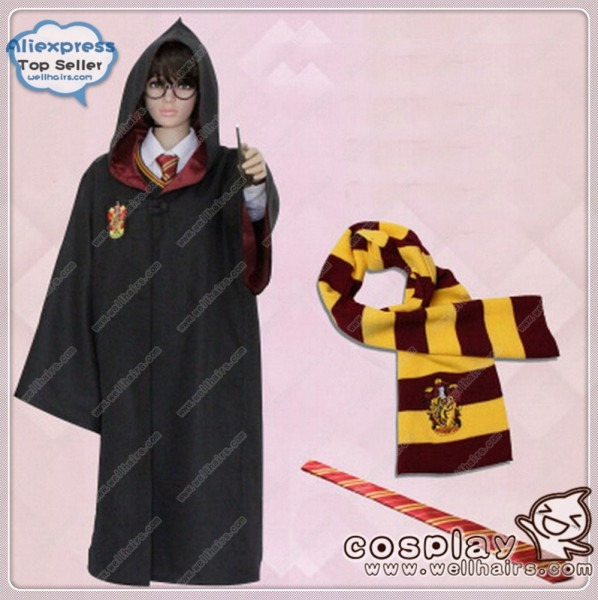 Cartoon Role Harry Potter Cloak Cape Magic Robe With Scarf And Tie