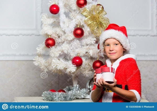 Christmas Tree Ideas For Kids  Boy Kid Dressed As Santa With Red