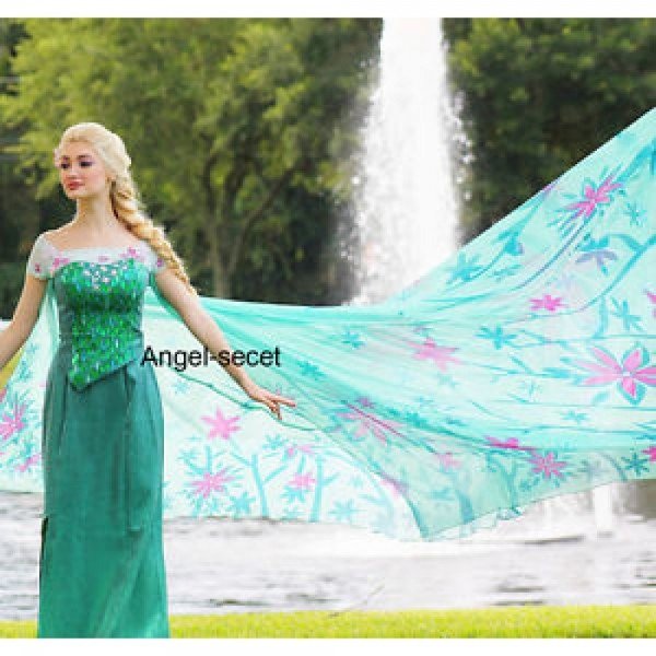 Cl18 Adult Frozen Fever Queen Elsa Cosplay Costume Dress