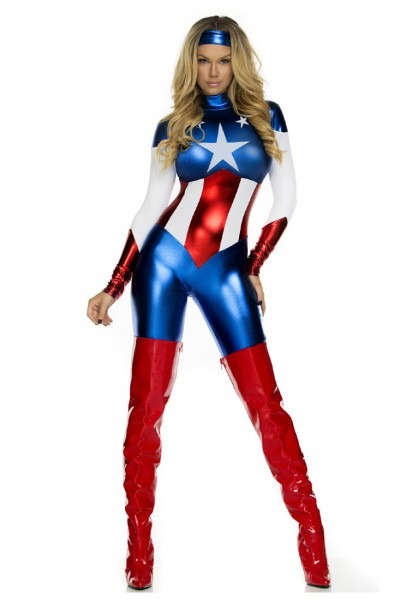 Royal Blue American Beauty Sexy Superhero Costume