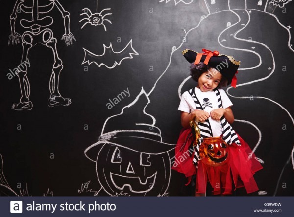 Cute Girl In Pirate Costume In Halloween Stock Photo  164989269