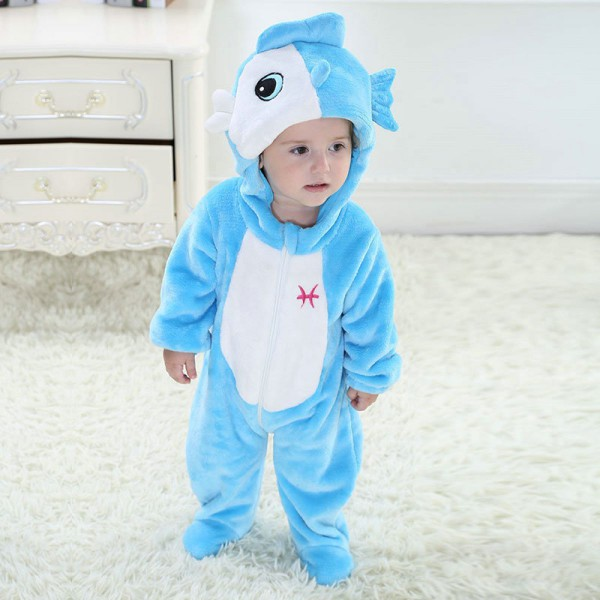Pisces Blue Fish Baby Infant Toddler Halloween Animal Onesie
