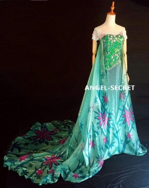 Fj929 New Frozen Fever Elsa Green Dress Whole Set