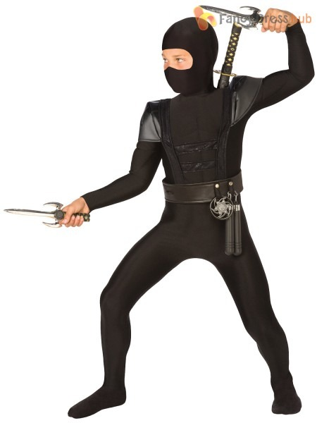 Childrens Black Ninja Fancy Dress Costume Samurai Warrior Outfit
