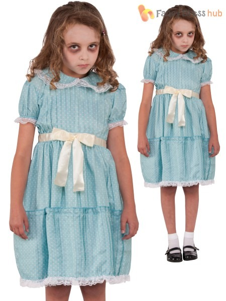 Girls The Shining Twin Sister Costume Childs Creepy Halloween