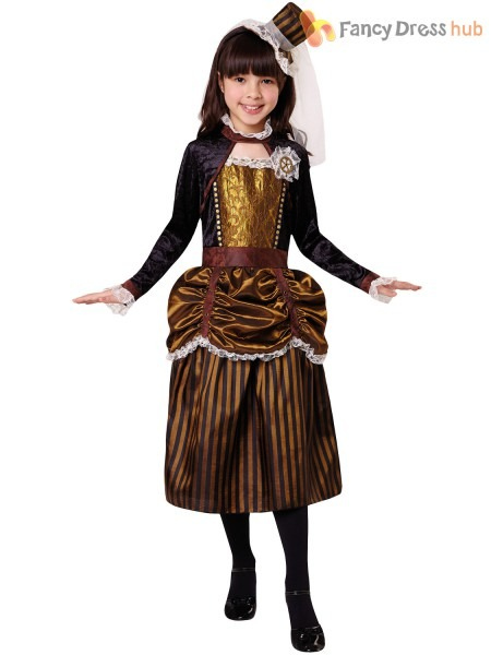 Girls Steampunk Costume Childs Victorian Halloween Fancy Dress