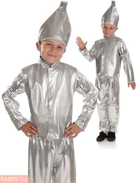 Boys Tin Man Costume Childs Fancy Dress Kids Workd Book Week Day