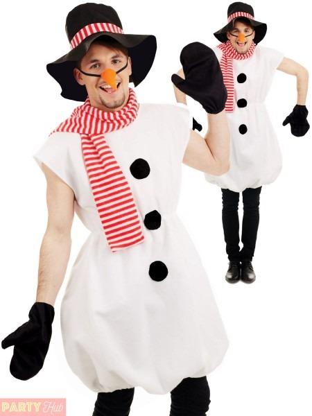 Mens Snowman Costume Adults Christmas Fancy Dress Novelty Frosty
